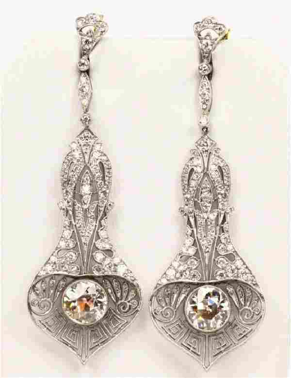 6ctw Diamond, Plat. & 18K Art Nouveau Earrings