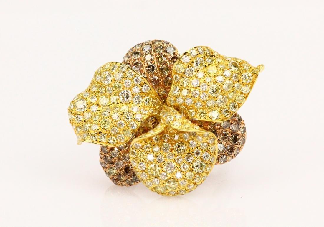 5ctw VS1-VS2 Yellow & Brown Diamond 18K Ring