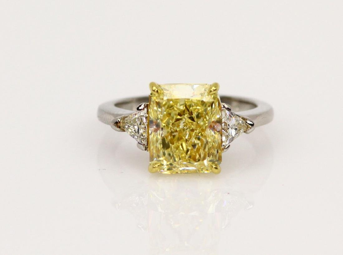 5ct GIA SI1 Yellow Diam., .45ctw Diam. Plat. Ring