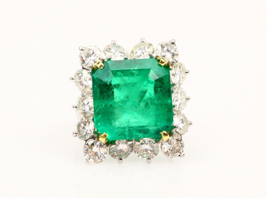 13ct GIA Col. Emerald in 4ctw Diam. 14K Band