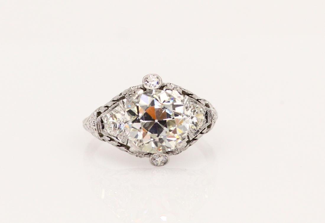 3.8ctw Diamond & Platinum Art Nouveau Ring