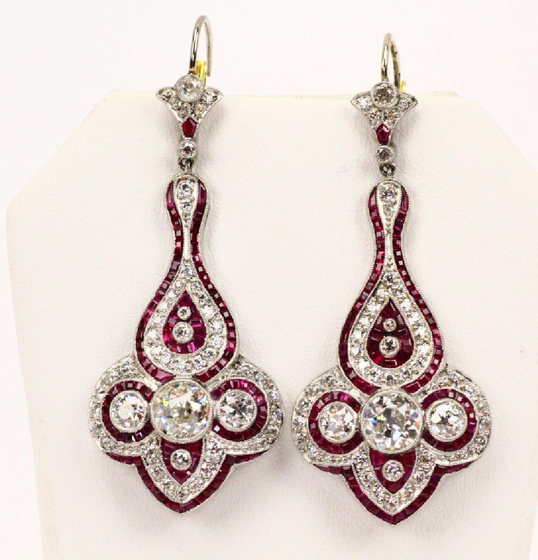 4.75ctw Diam., 1.5ctw Ruby, Plat. & 18K Earrings