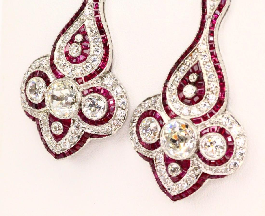 4.75ctw Diam., 1.5ctw Ruby, Plat. & 18K Earrings - 4