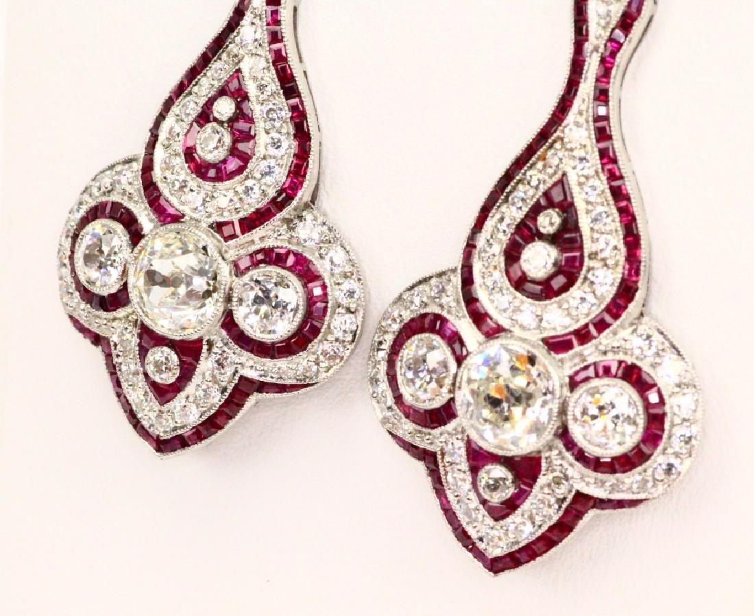 4.75ctw Diam., 1.5ctw Ruby, Plat. & 18K Earrings - 4