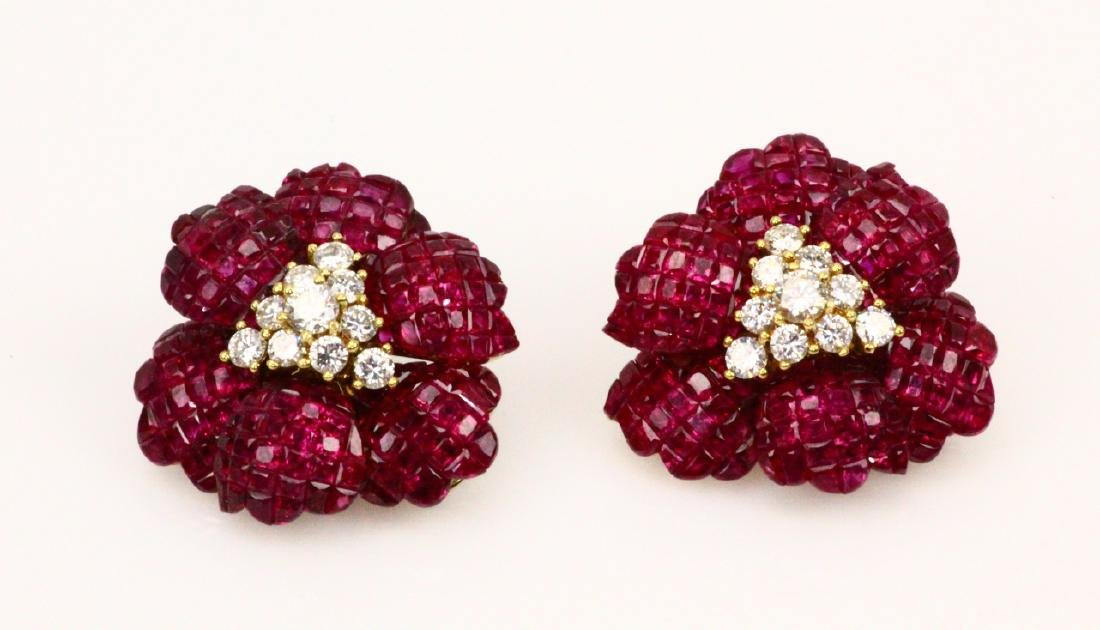 Sabbadini 18ctw Ruby, 2.2ctw Diam. & 18K Earrings