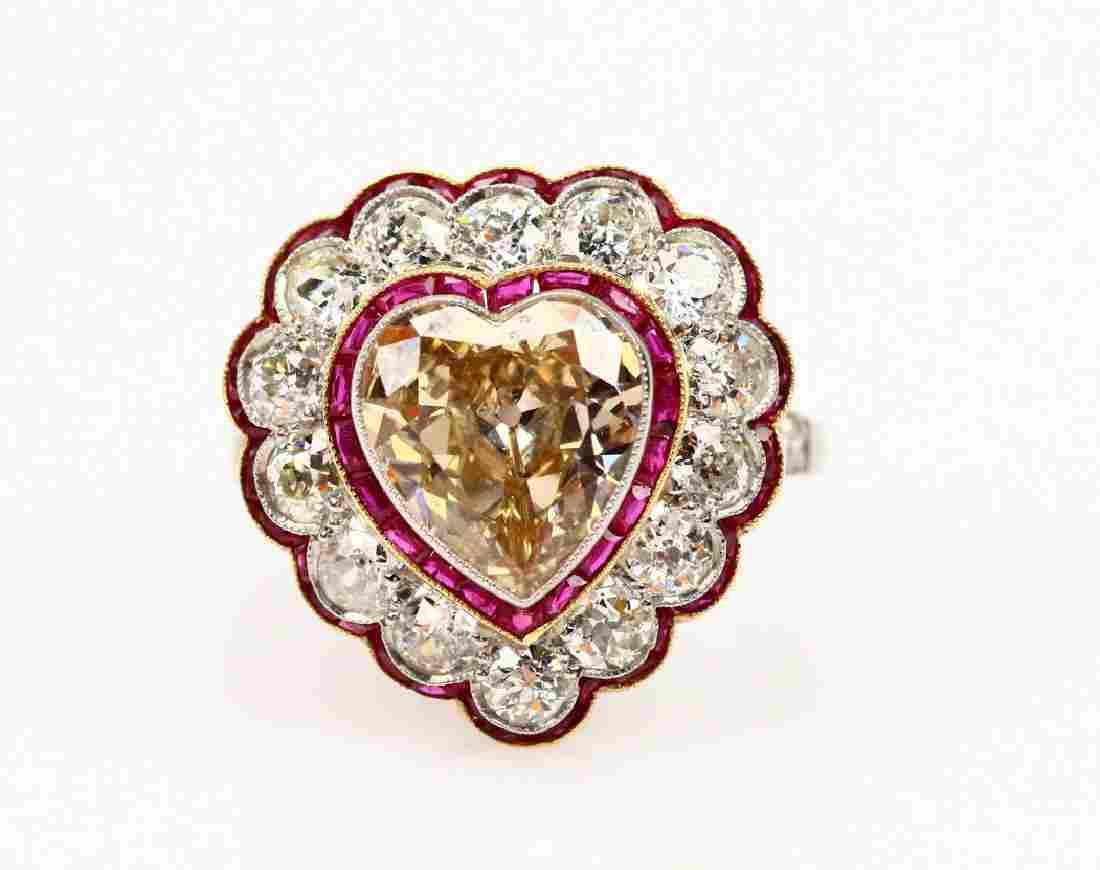 4.4ctw Diamond, Platinum & 18K Ring W/Rubies