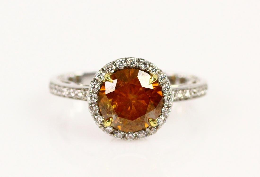 2.65ct GIA Brown-Orange Diam. in Diam & 18K Ring