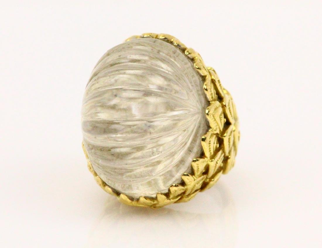 David Webb 18K & Carved Quartz Crystal Ring