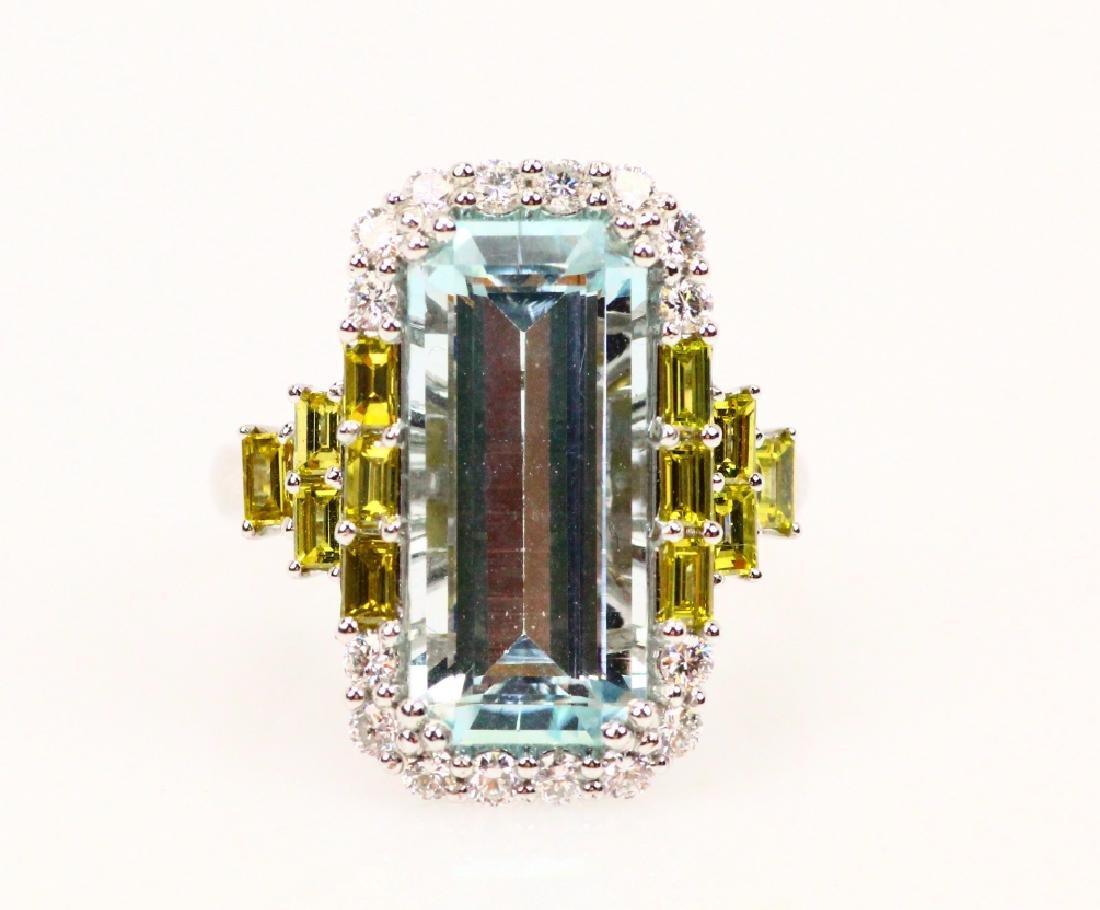 6.52ct Aquamarine, 1.65ctw Diamond & 18K Ring