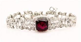 9ct Rubellite 25ctw Diam  Platinum Bracelet