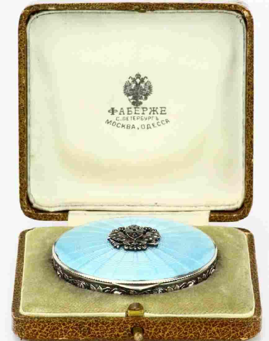 Faberge 84 Silver & Blue Guilloche Enamel Box