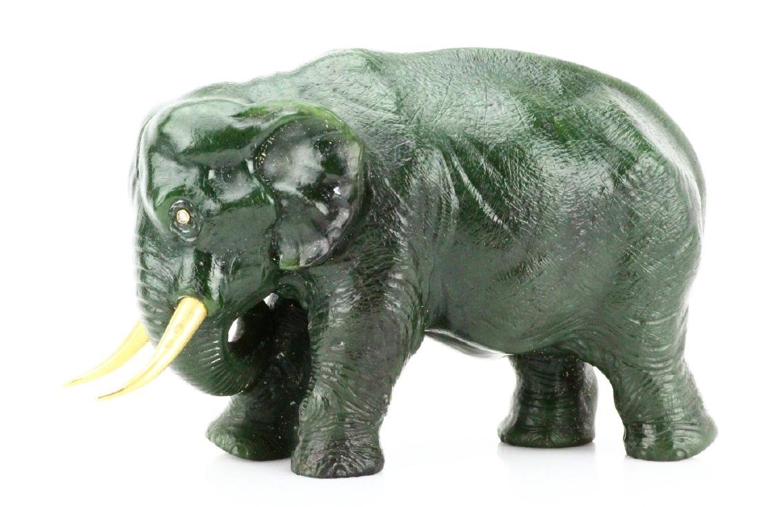 Faberge Nephrite Elephant W/Gold Tusks & Diamonds