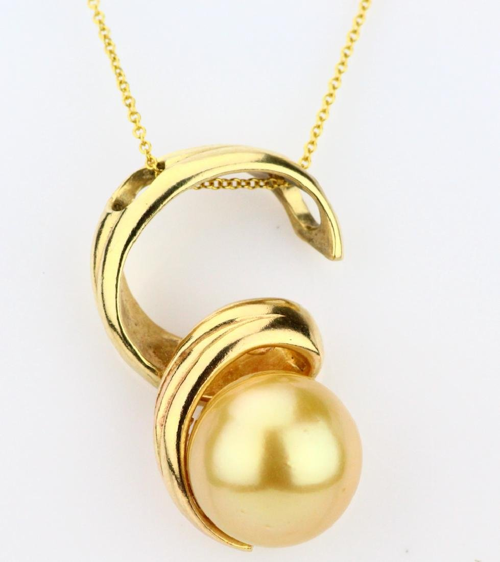 """12mm AA Golden South Sea Pearl & 18K 18"""" Necklace"""