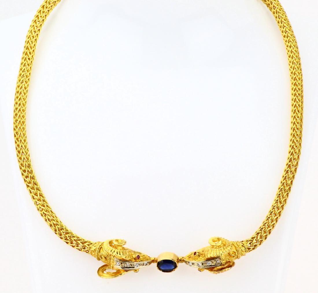 18K Sapphire & Ruby Dueling Ram Head Necklace