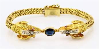 Blue Sapphire & 18K Double Rams Head Bracelet