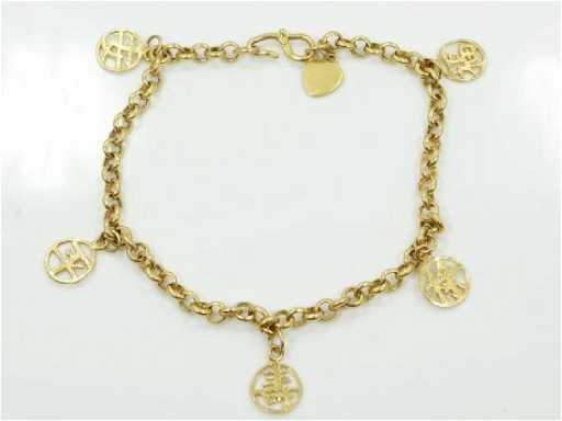 24k Yellow Gold Bracelet Wchinese Symbol Charms