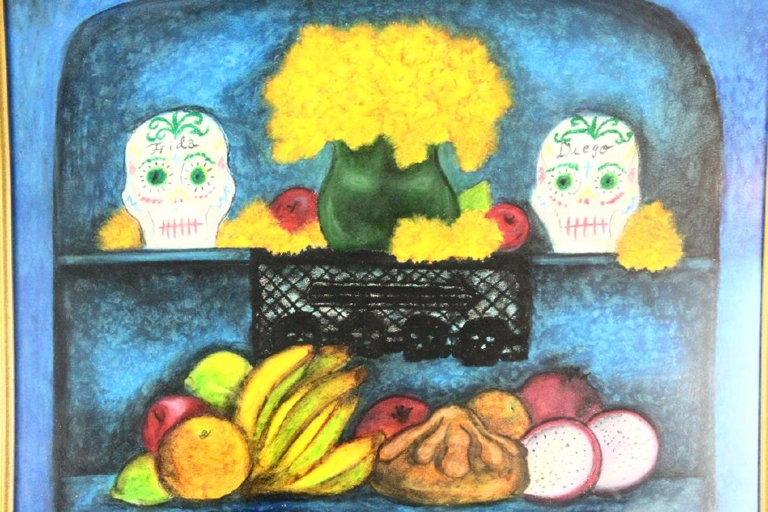 Frida Kahlo Original Oil Pastel on Paper W/COA - 2