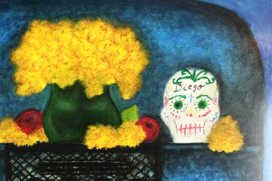 Frida Kahlo Original Oil Pastel on Paper W/COA - 3