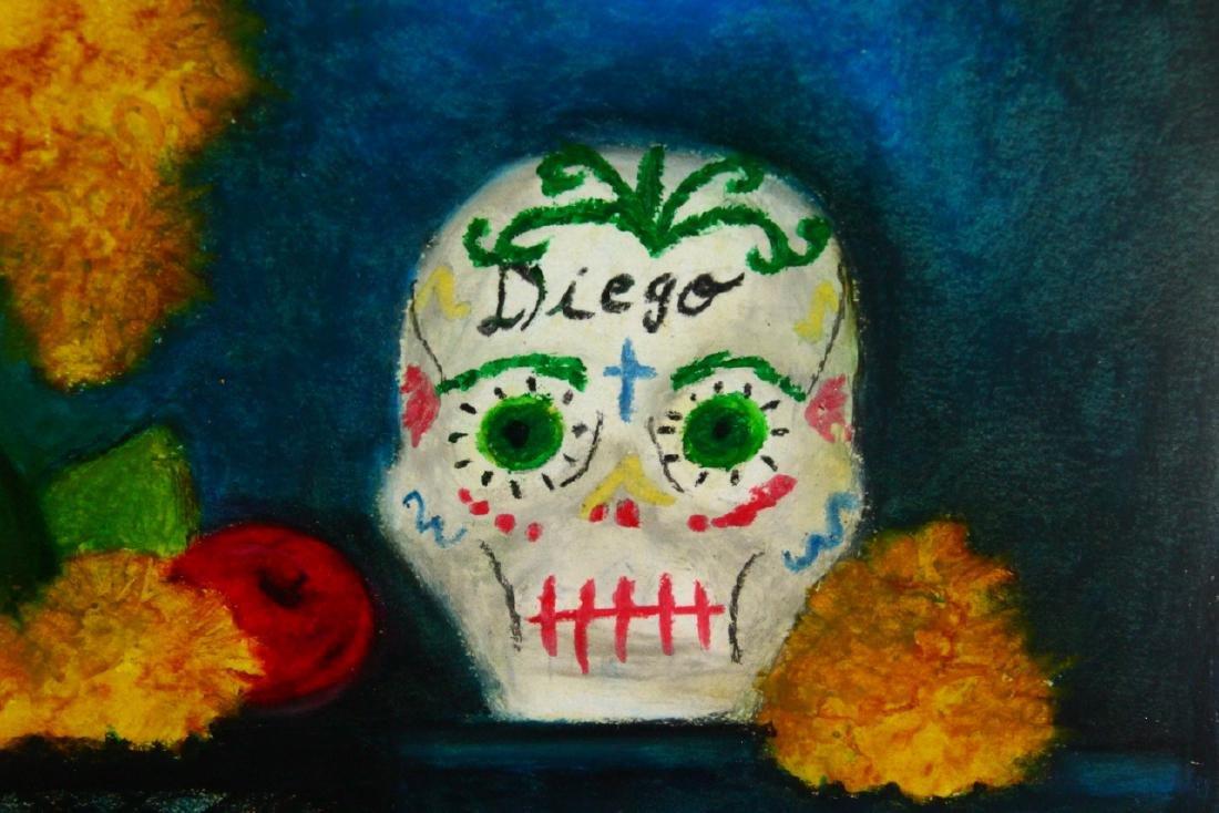 Frida Kahlo Original Oil Pastel on Paper W/COA - 6