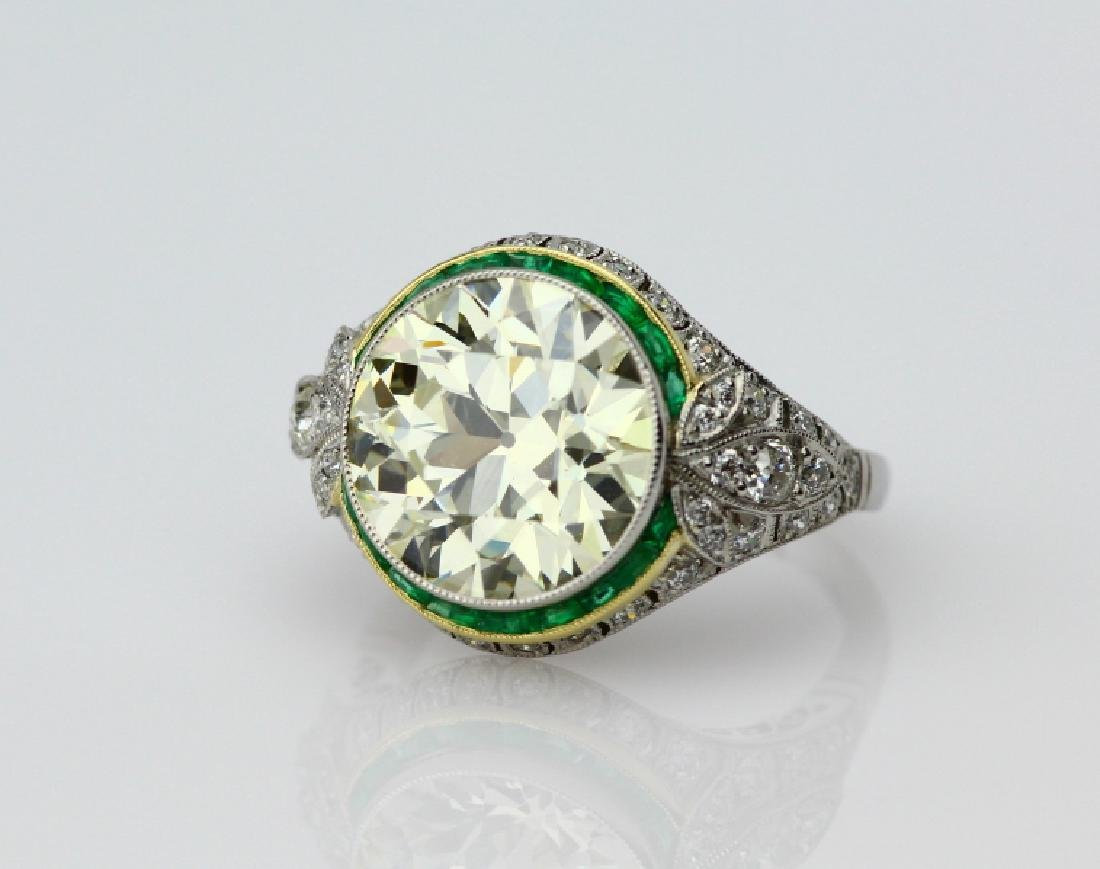 8ct Diamond in Platnum/18K Setting W/Emeralds