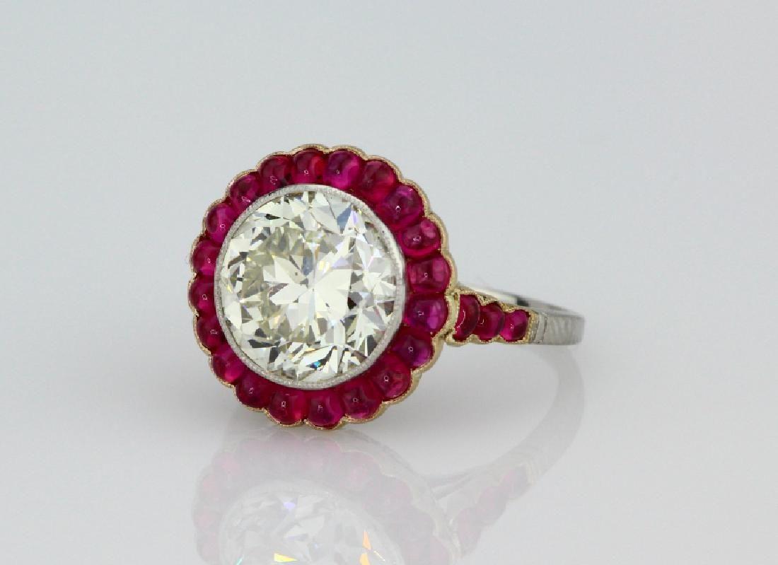5ct Diamond in Platnum/18K Setting W/Rubies