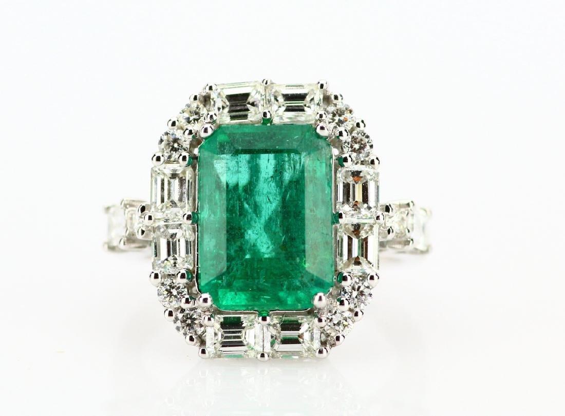4.5ct Colombian Emerald, 2ctw Diamond 18K Ring