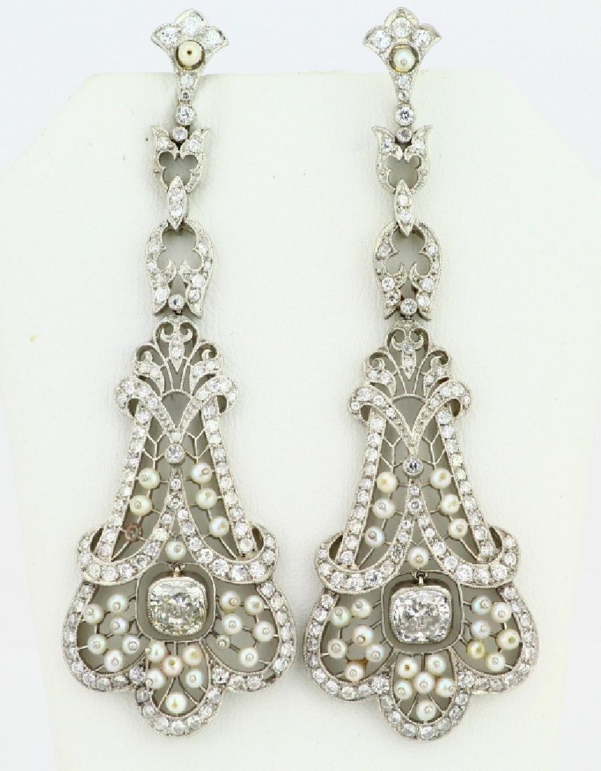 Art Nouveau 5.75ctw Diamond Platinum/18K Earrings