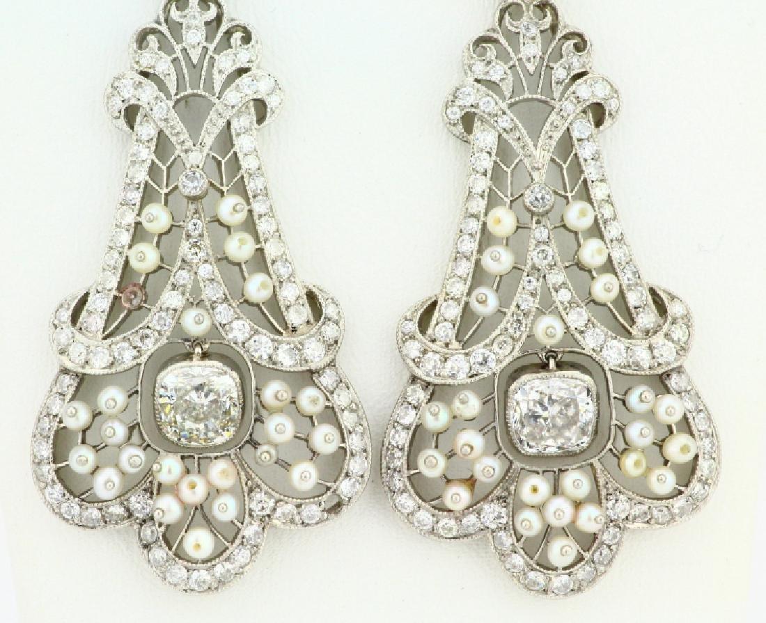 Art Nouveau 5.75ctw Diamond Platinum/18K Earrings - 2