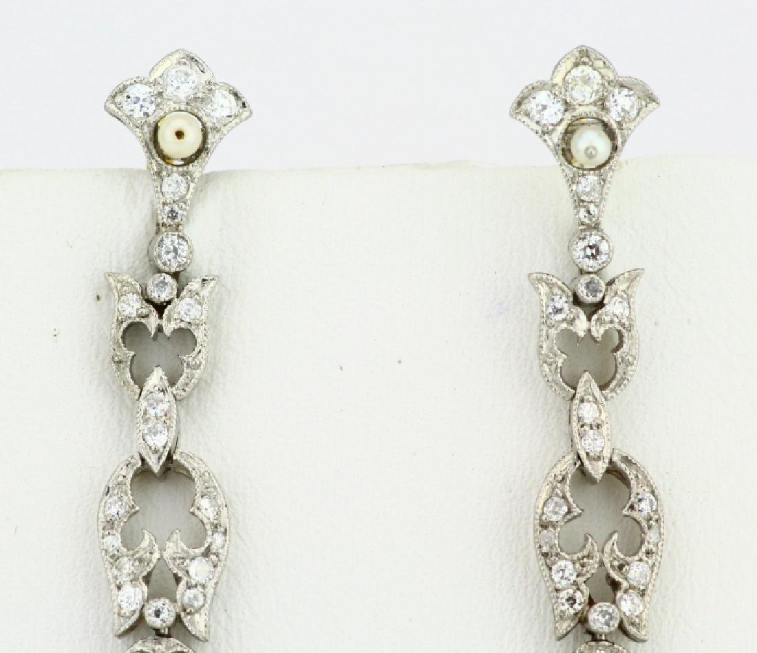 Art Nouveau 5.75ctw Diamond Platinum/18K Earrings - 3