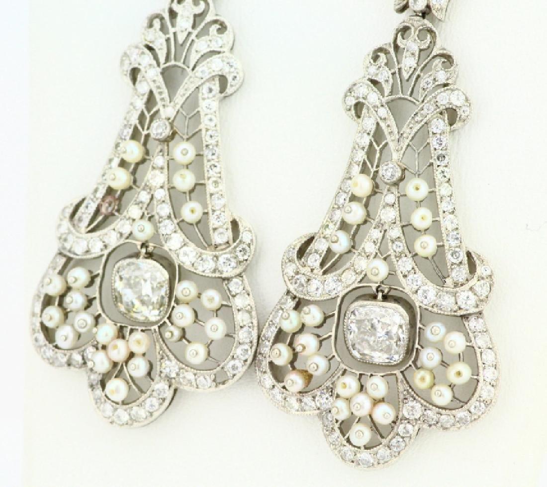 Art Nouveau 5.75ctw Diamond Platinum/18K Earrings - 4