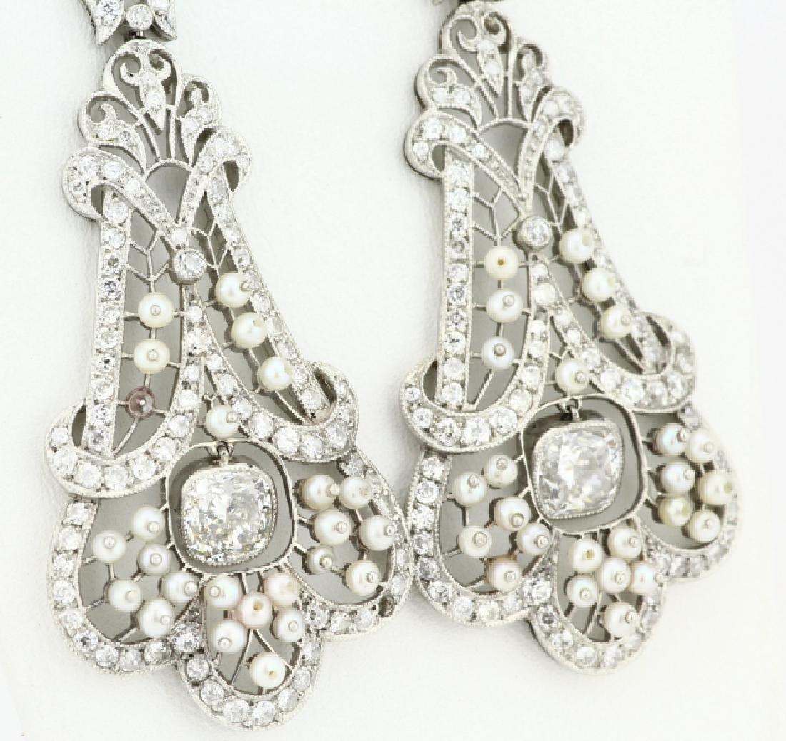 Art Nouveau 5.75ctw Diamond Platinum/18K Earrings - 5