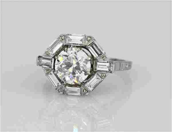 2ct GIA VS2/H Old European-Cut Diamond Plat. Ring