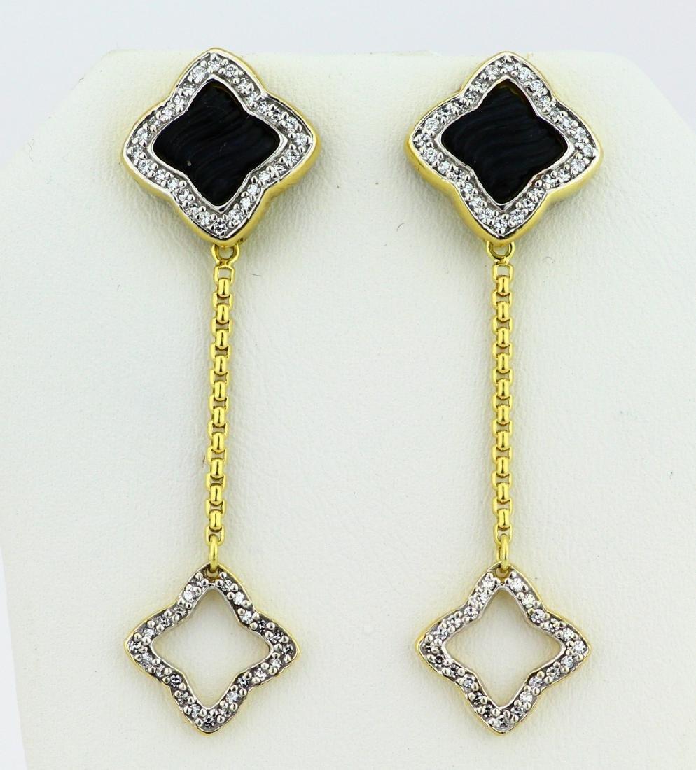 David Yurman 1.00ctw Diamond, 18K & Onyx Earrings