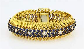 Tiffany & Co. Blue Sapphire, Diamond 18K Bracelet