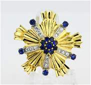 Tiffany  Co 15ctw Blue Sapphire  18K Brooch