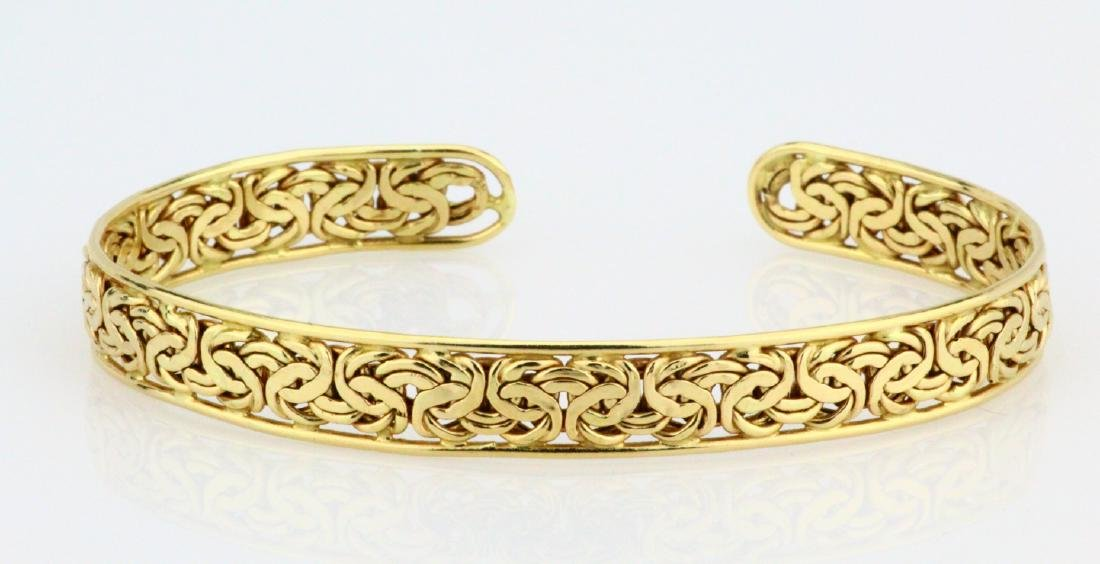 Solid 14K Yellow Gold 8.5mm Wide Cuff Bracelet