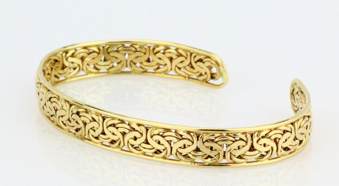 Solid 14K Yellow Gold 8.5mm Wide Cuff Bracelet - 2