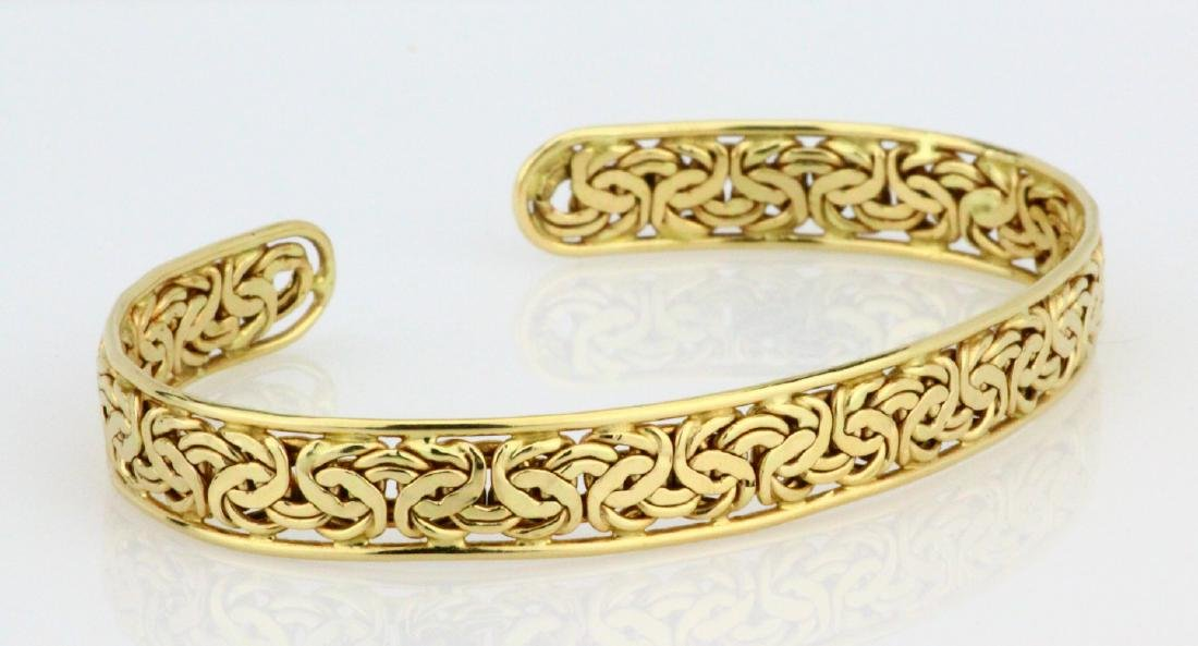 Solid 14K Yellow Gold 8.5mm Wide Cuff Bracelet - 3