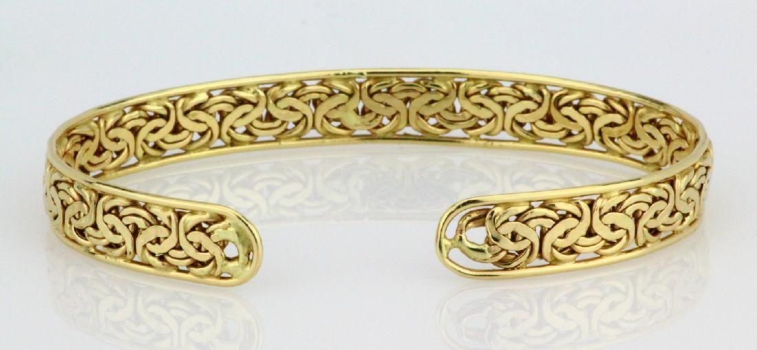 Solid 14K Yellow Gold 8.5mm Wide Cuff Bracelet - 4