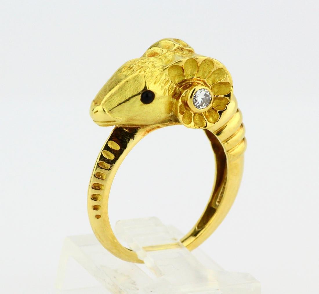 J.P. Bellin 18K Ram Ring W/Diamond & Onyx Accents