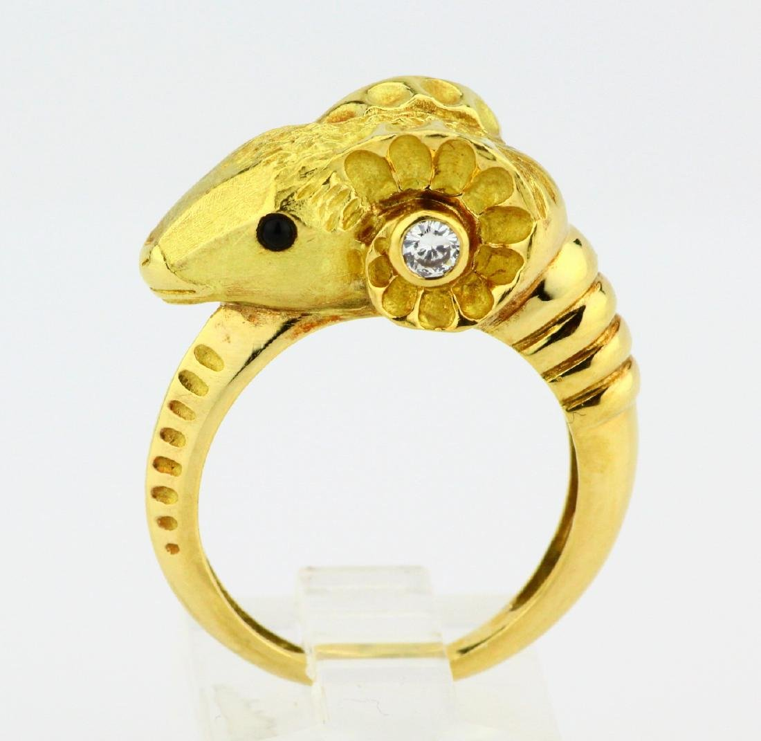 J.P. Bellin 18K Ram Ring W/Diamond & Onyx Accents - 2