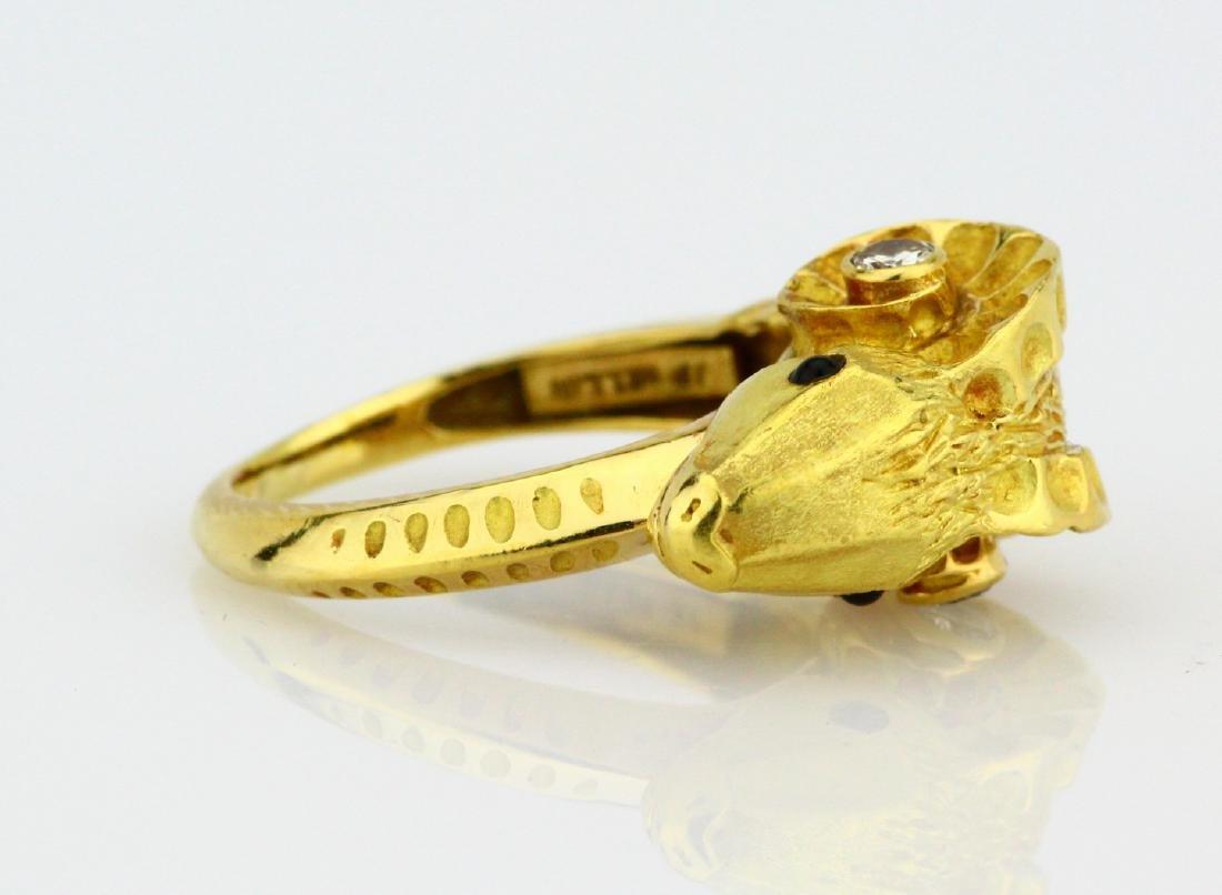J.P. Bellin 18K Ram Ring W/Diamond & Onyx Accents - 4