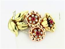 14K Tri-Color Gold Brooch W/Diamonds & Rubies