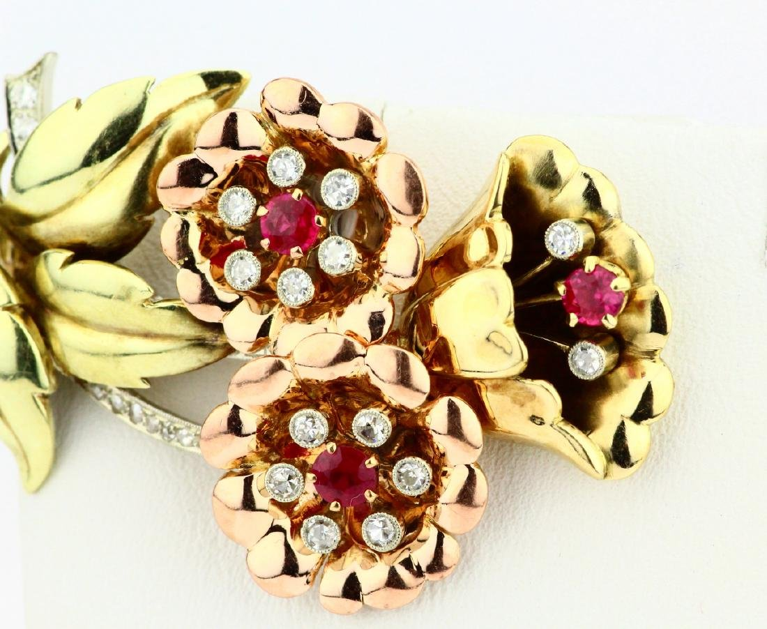14K Tri-Color Gold Brooch W/Diamonds & Rubies - 2