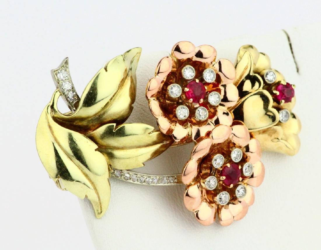 14K Tri-Color Gold Brooch W/Diamonds & Rubies - 3
