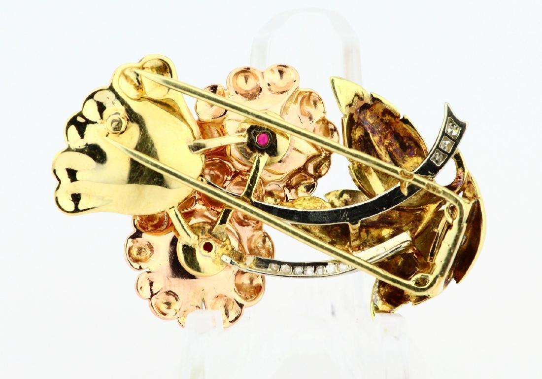 14K Tri-Color Gold Brooch W/Diamonds & Rubies - 4