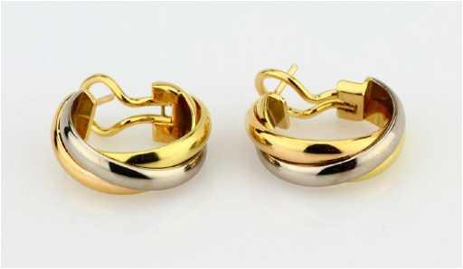 Cartier Trinity De 18k Hoop Earrings See Sold Price
