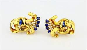 1.5ctw Blue Sapphire & 14K Yellow Gold Ear Clips