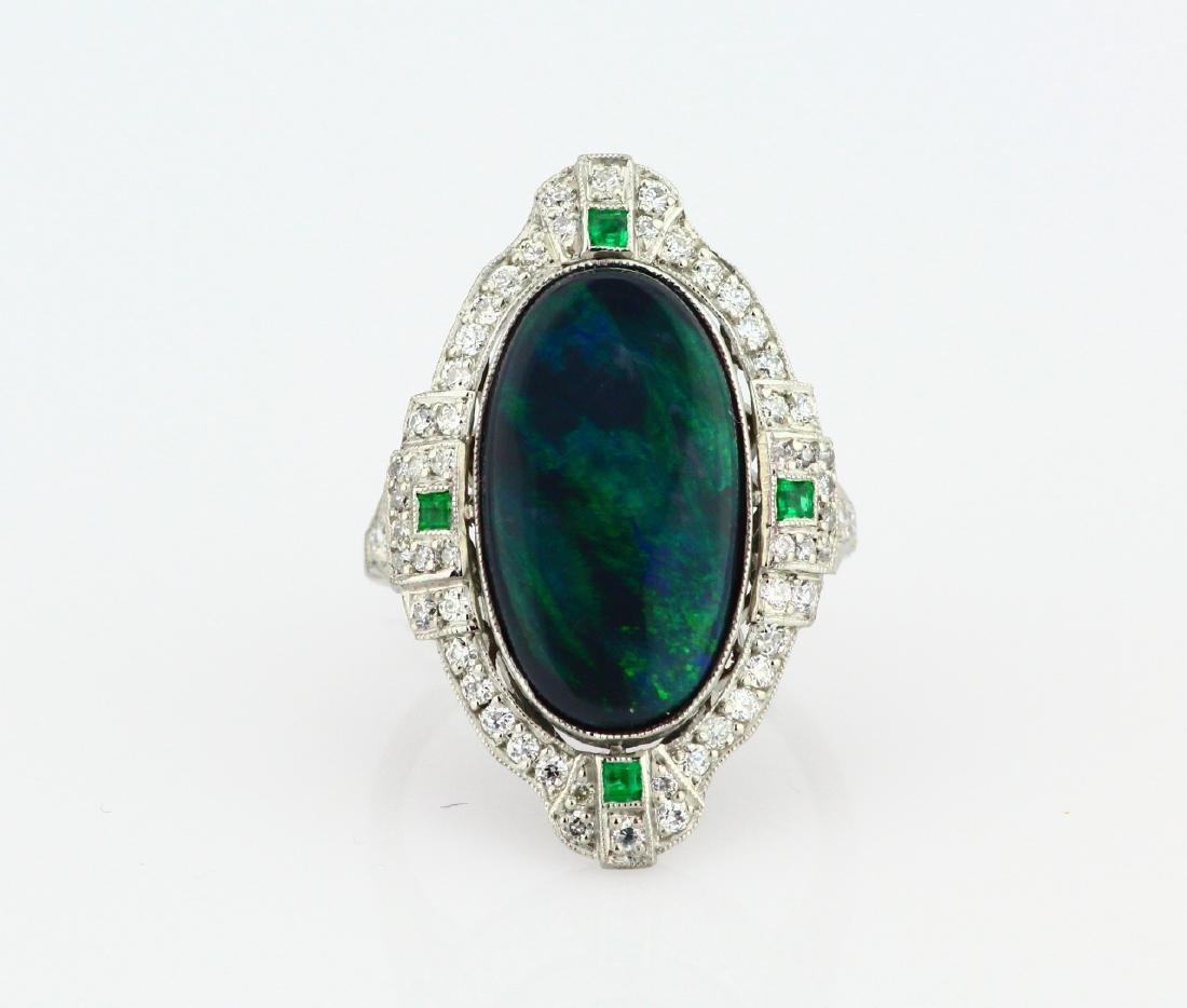 Black Opal Slate, 1ctw Diamond & Platinum Ring