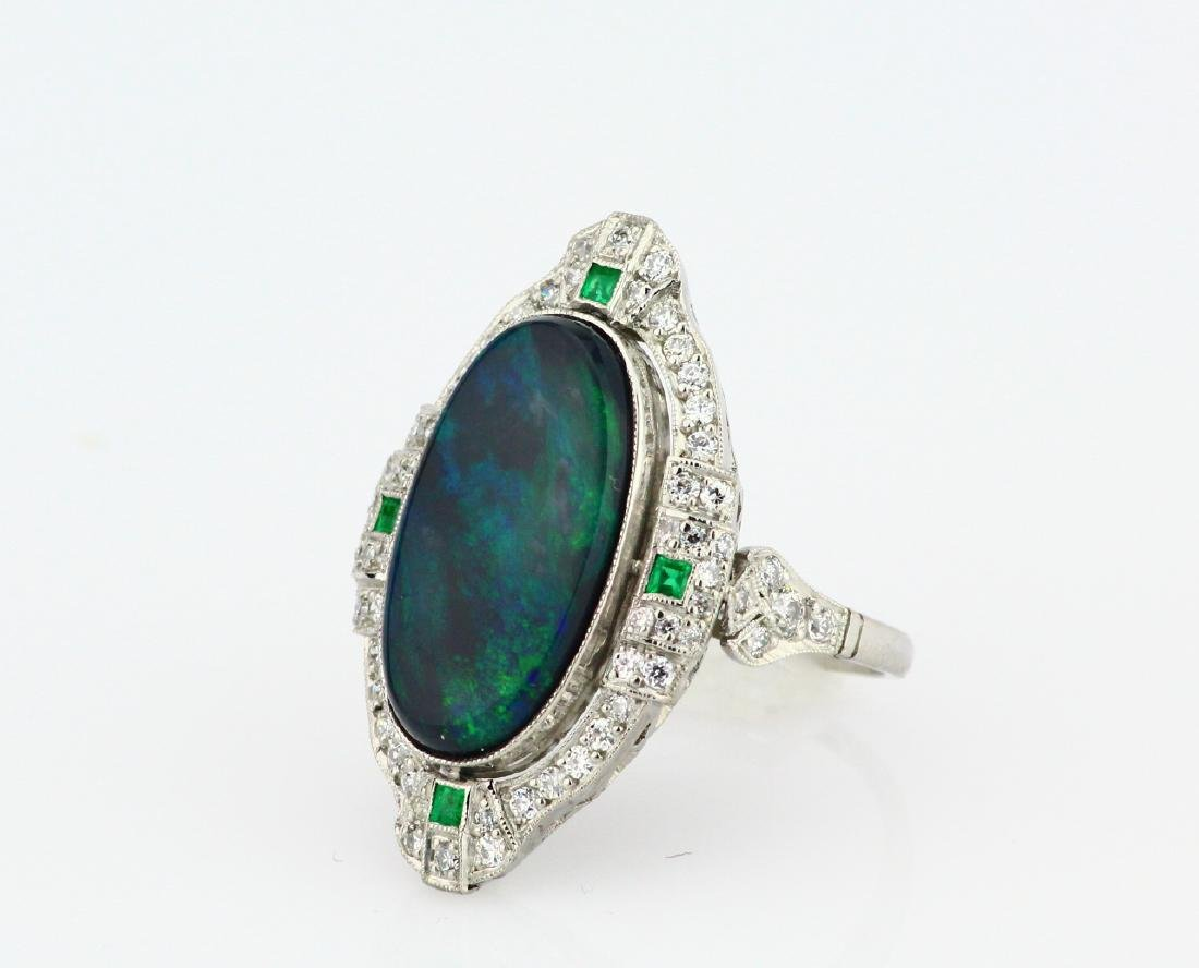 Black Opal Slate, 1ctw Diamond & Platinum Ring - 2